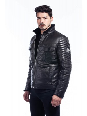 Jacket For Men - Leather With Fur